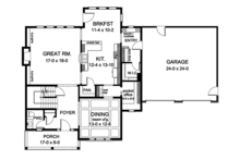 Colonial Floor Plan - Main Floor Plan Plan #1010-166