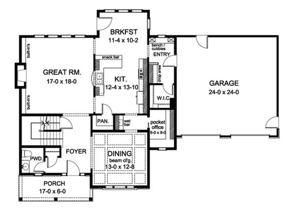 Colonial Floor Plan - Main Floor Plan Plan #1010-166
