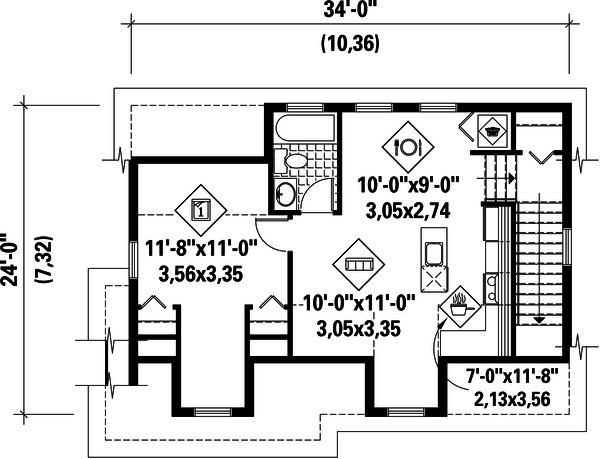 Traditional Floor Plan - Upper Floor Plan Plan #25-4624