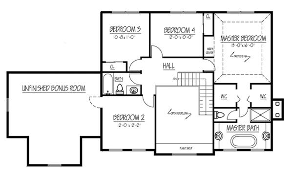 Colonial Floor Plan - Upper Floor Plan Plan #1061-5