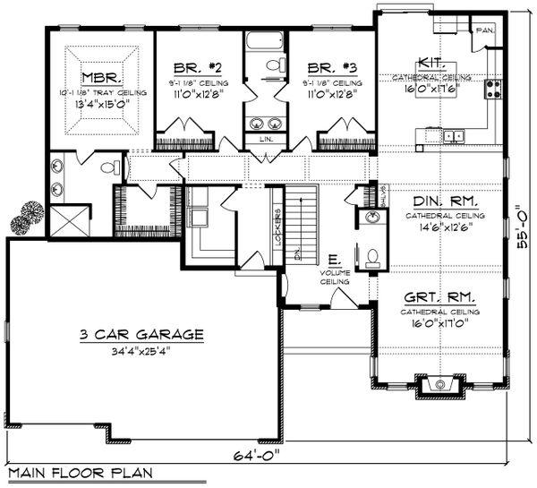 Ranch Floor Plan - Main Floor Plan Plan #70-1196