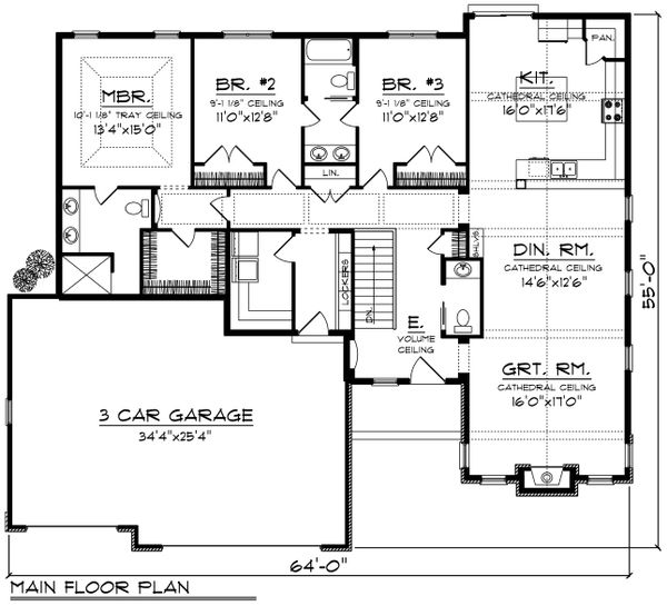 Ranch Floor Plan - Main Floor Plan Plan #70-1196