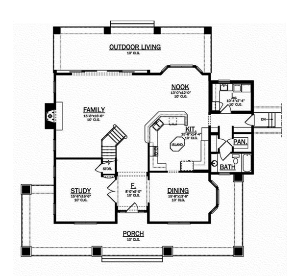 Craftsman Floor Plan - Main Floor Plan Plan #1058-79
