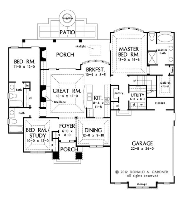 European Floor Plan - Main Floor Plan Plan #929-957
