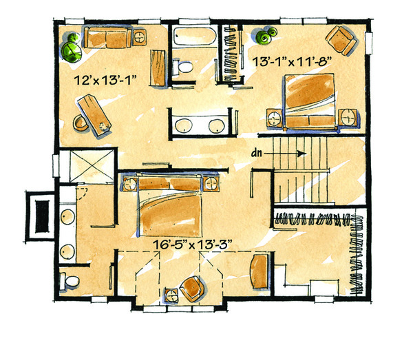 Craftsman Floor Plan - Upper Floor Plan Plan #942-26