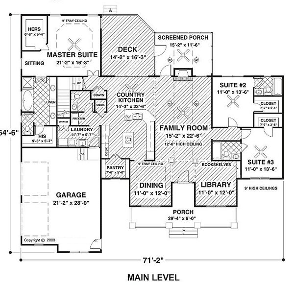 Country Style House Plan - 3 Beds 3.5 Baths 2294 Sq/Ft Plan #56-608 Floor Plan - Main Floor Plan