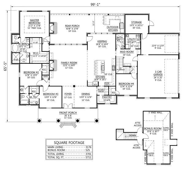 Southern Floor Plan - Main Floor Plan Plan #1074-2