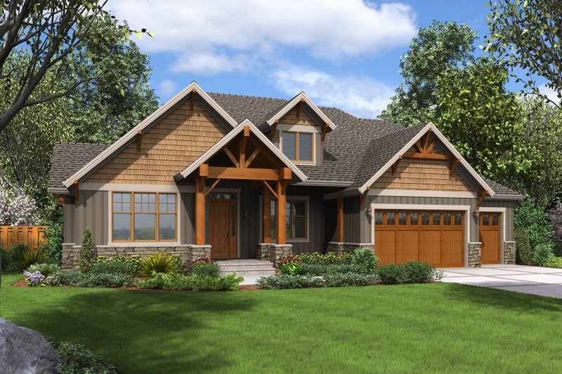 Craftsman Style House Plan - 4 Beds 4 Baths 3340 Sq/Ft Plan #48-681 Exterior - Front Elevation