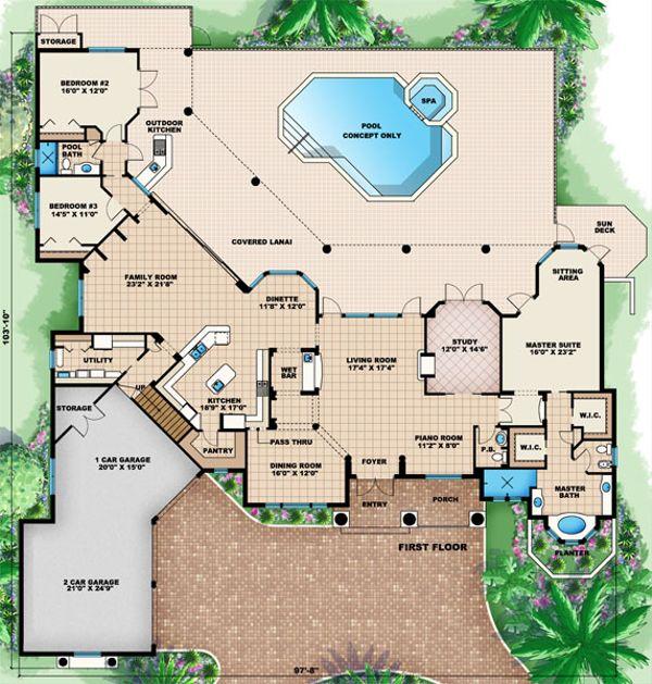 European Floor Plan - Main Floor Plan Plan #27-426