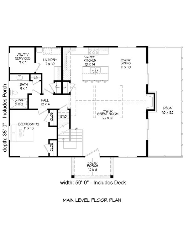 Architectural House Design - Country Floor Plan - Main Floor Plan #932-54