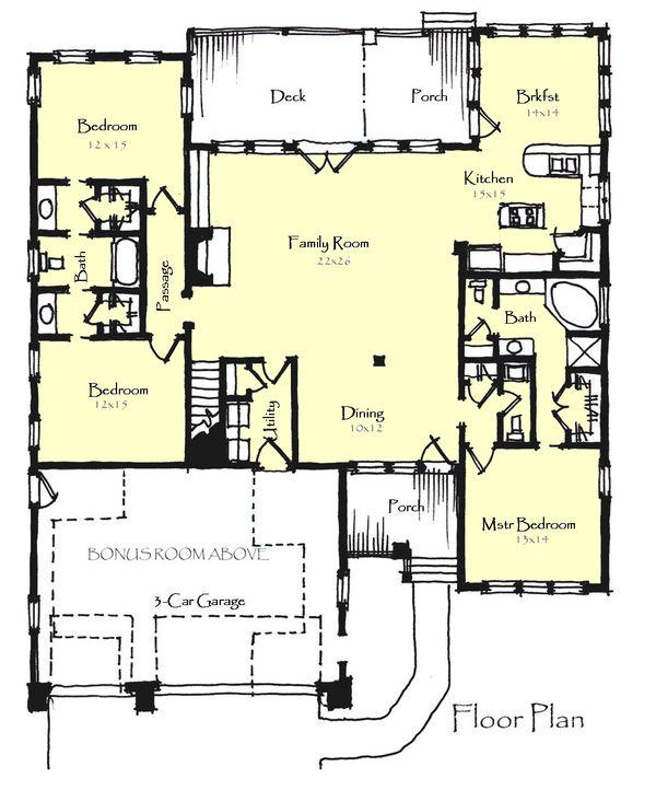 Craftsman Floor Plan - Main Floor Plan Plan #921-21