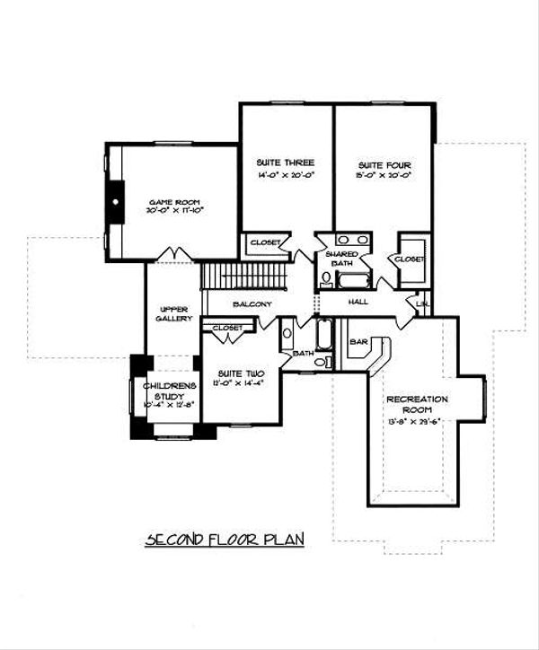 European Floor Plan - Upper Floor Plan Plan #413-150