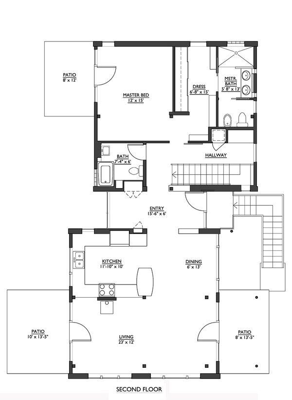 Modern house plan, main level floor plan by Architect, Nir Pearlson