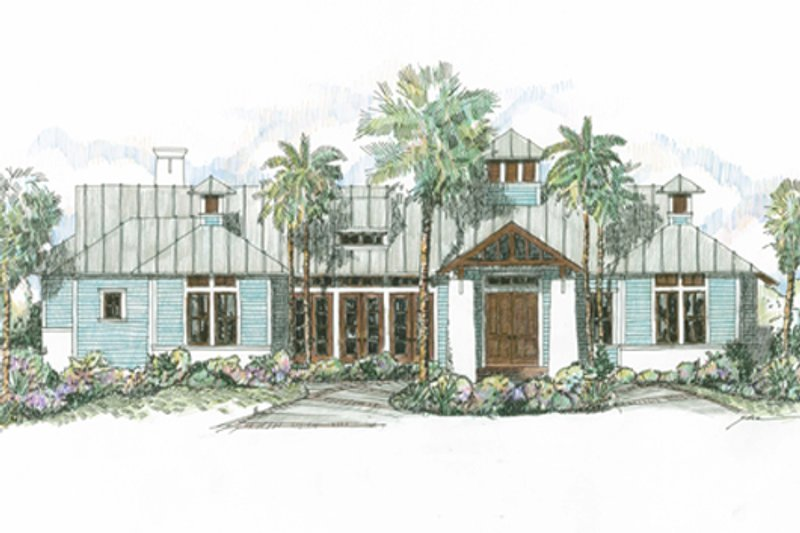 Beach Style House Plan - 4 Beds 3.5 Baths 3016 Sq/Ft Plan #426-13 Exterior - Front Elevation