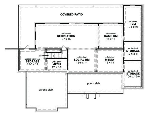 Architectural House Design - Farmhouse Floor Plan - Lower Floor Plan #119-436