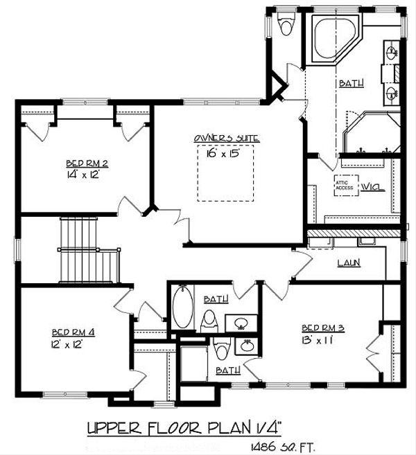 Traditional Floor Plan - Upper Floor Plan Plan #320-487