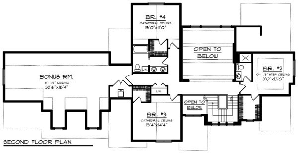 Craftsman Floor Plan - Upper Floor Plan Plan #70-1287