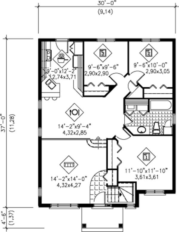 Traditional Floor Plan - Main Floor Plan Plan #25-4231