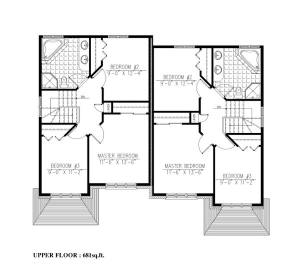 Traditional Floor Plan - Upper Floor Plan #138-350