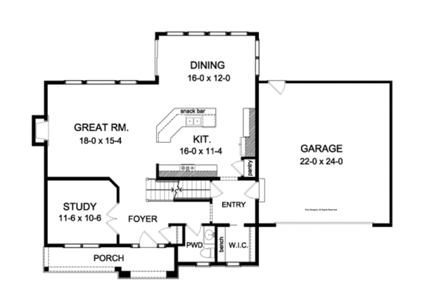 Colonial Floor Plan - Main Floor Plan Plan #1010-83