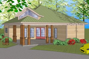 Southern Exterior - Front Elevation Plan #8-308