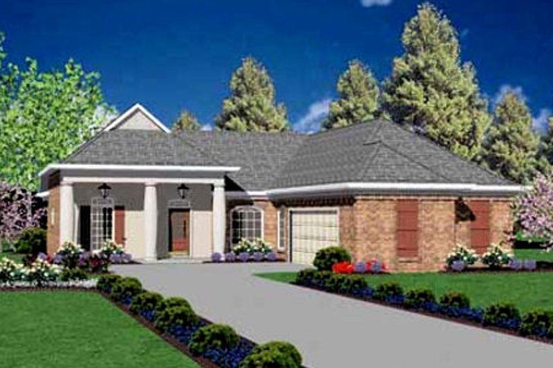 Colonial Style House Plan - 3 Beds 2 Baths 1631 Sq/Ft Plan #36-143 Exterior - Front Elevation