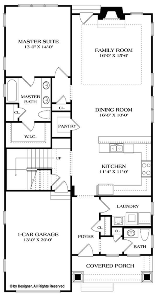 House Plan Design - Craftsman Floor Plan - Main Floor Plan #453-620