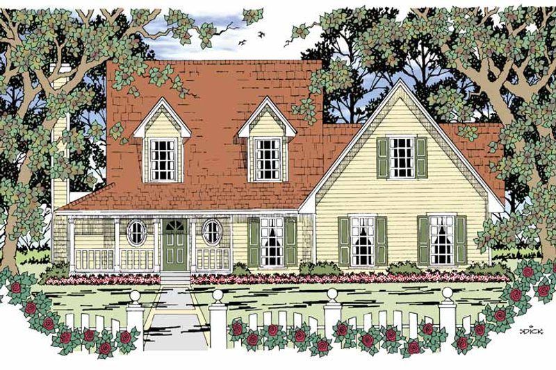 Country Exterior - Front Elevation Plan #42-597 - Houseplans.com