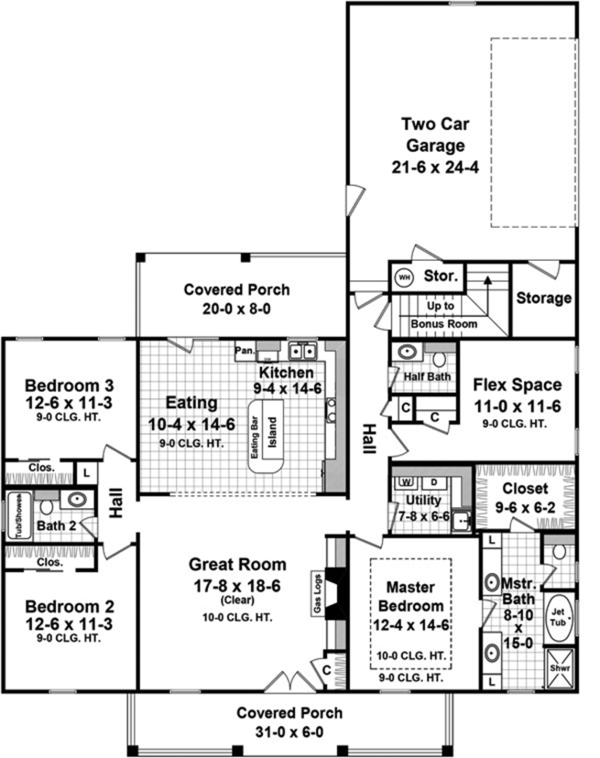 Traditional Floor Plan - Main Floor Plan Plan #21-430