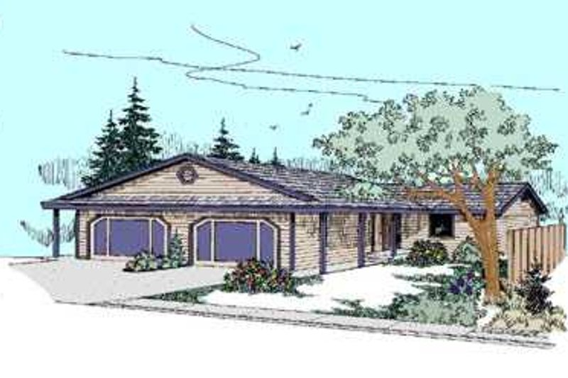 Ranch Exterior - Front Elevation Plan #60-486 - Houseplans.com