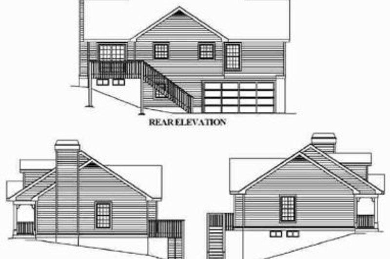 Cottage Exterior - Rear Elevation Plan #57-151 - Houseplans.com
