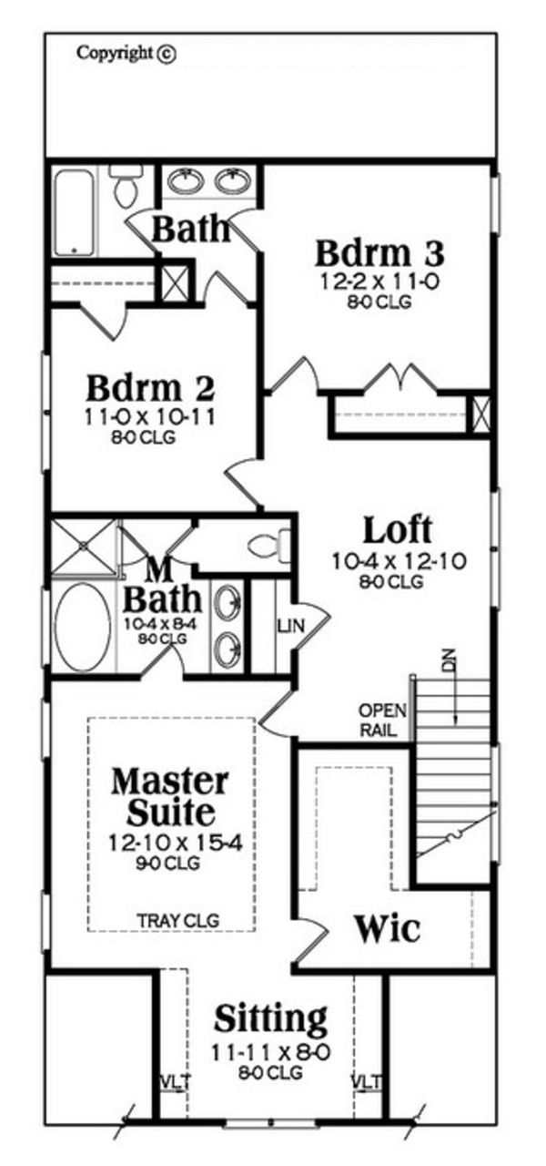 Bungalow Floor Plan - Upper Floor Plan Plan #419-297