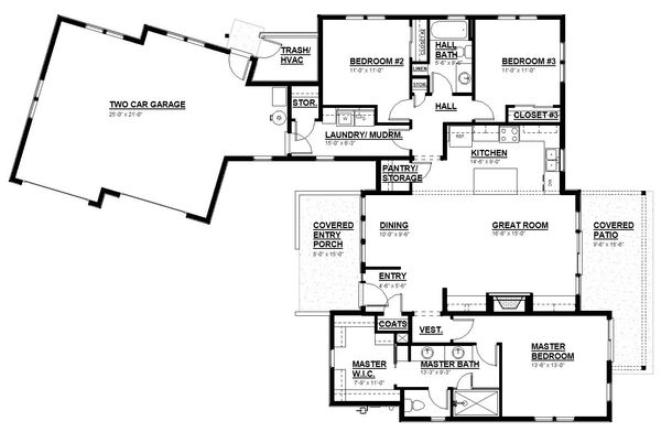 Modern Floor Plan - Main Floor Plan Plan #895-108