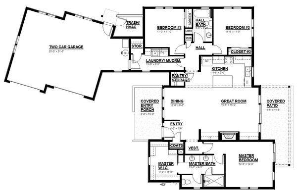 House Design - Modern Floor Plan - Main Floor Plan #895-108
