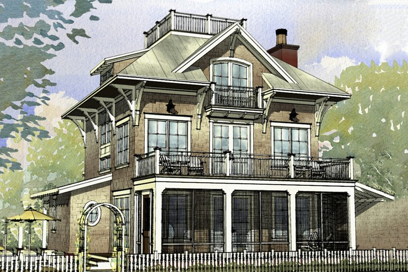 Beach Style House Plan - 4 Beds 3.5 Baths 3470 Sq/Ft Plan #901-124 Exterior - Front Elevation