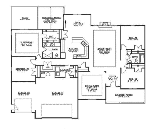 Ranch Floor Plan - Main Floor Plan Plan #1064-8