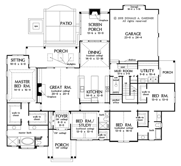 House Design - Ranch Floor Plan - Main Floor Plan #929-1016