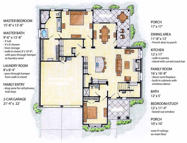 House Plan Design - Country Floor Plan - Main Floor Plan #410-3565