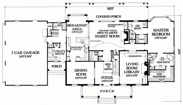 Colonial Floor Plan - Main Floor Plan Plan #137-247