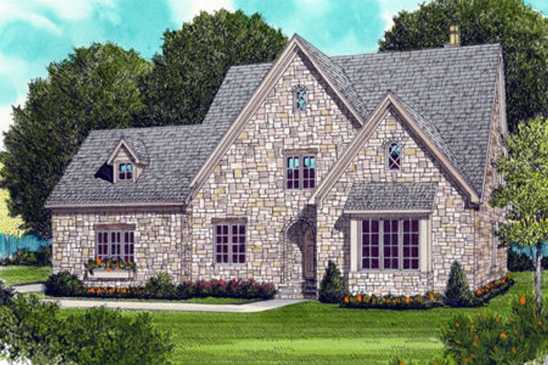 Cottage Style House Plan - 4 Beds 3.5 Baths 3654 Sq/Ft Plan #413-798 Exterior - Front Elevation
