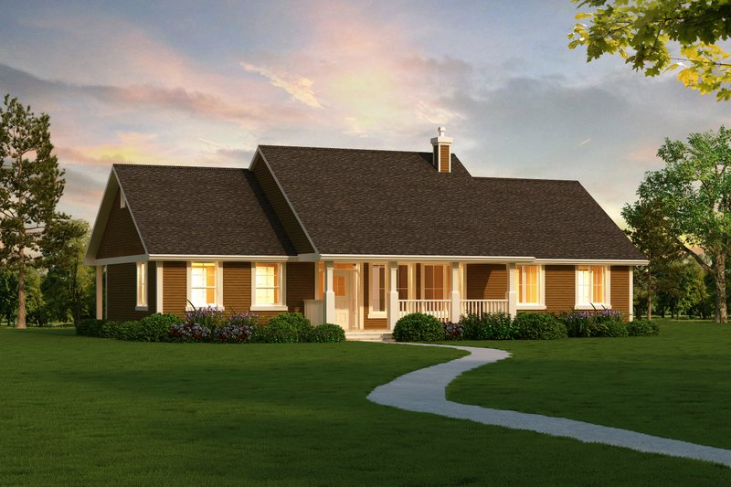 Ranch Style House Plan - 3 Beds 2 Baths 1820 Sq/Ft Plan #18-4512 Exterior - Front Elevation