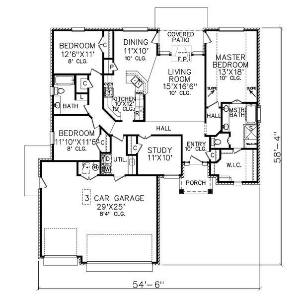 Traditional Floor Plan - Main Floor Plan Plan #65-103