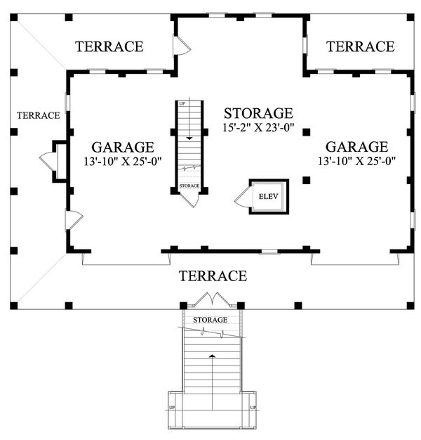 Southern style house plan, Country design, lower level floor plan