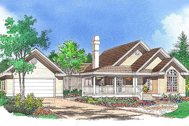 Country Exterior - Front Elevation Plan #929-54