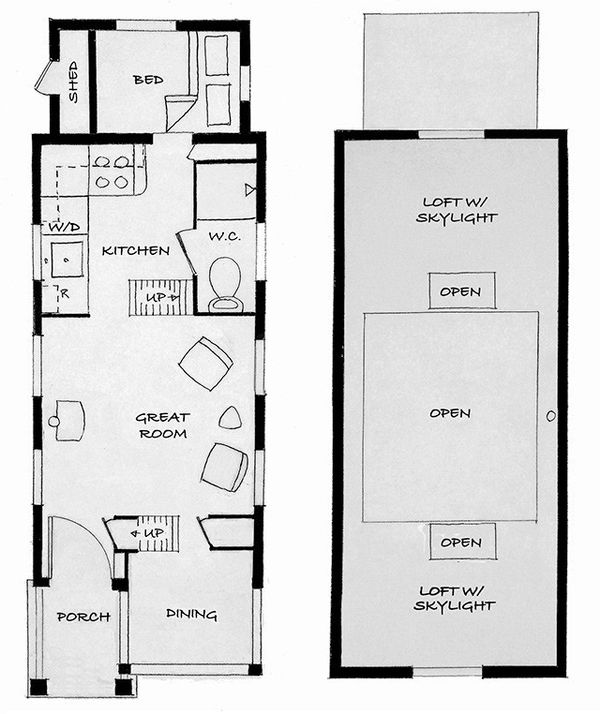 Cottage Style House Plan - 1 Beds 1 Baths 290 Sq/Ft Plan #896-6 Floor Plan - Main Floor Plan