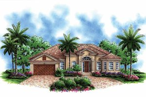 Mediterranean Exterior - Front Elevation Plan #1017-113
