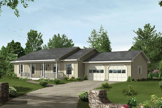 Ranch Exterior - Front Elevation Plan #57-159