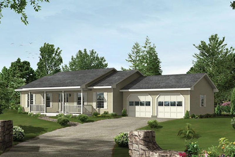 Ranch Style House Plan - 3 Beds 2 Baths 1344 Sq/Ft Plan #57-159