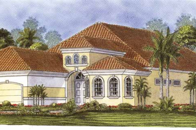 Dream House Plan - Mediterranean Exterior - Front Elevation Plan #1017-87