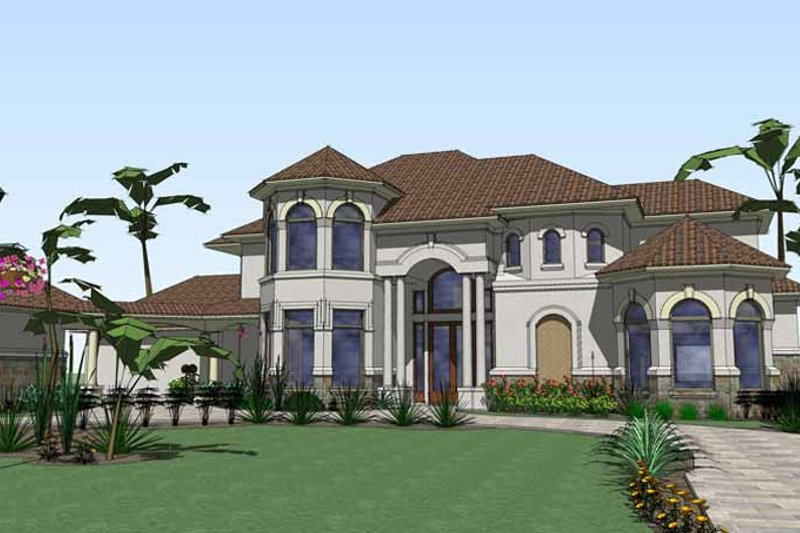 Mediterranean Exterior - Front Elevation Plan #120-211 - Houseplans.com